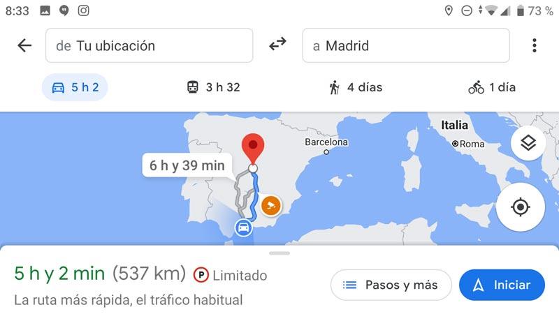 Radares fijos y móviles en ruta Google Maps